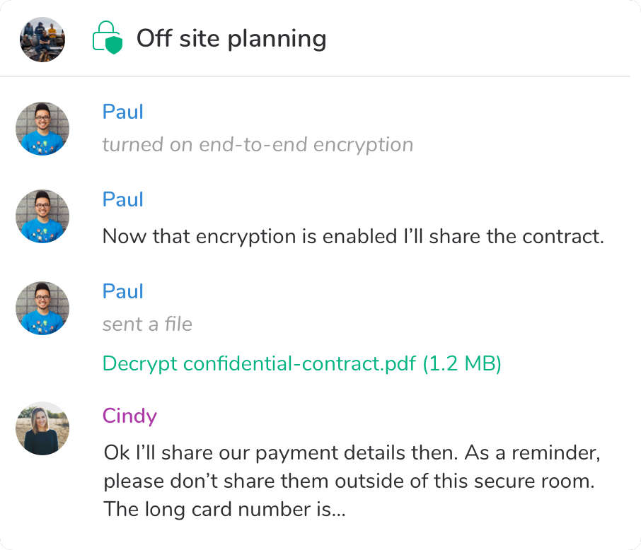 End to end encrypted chat