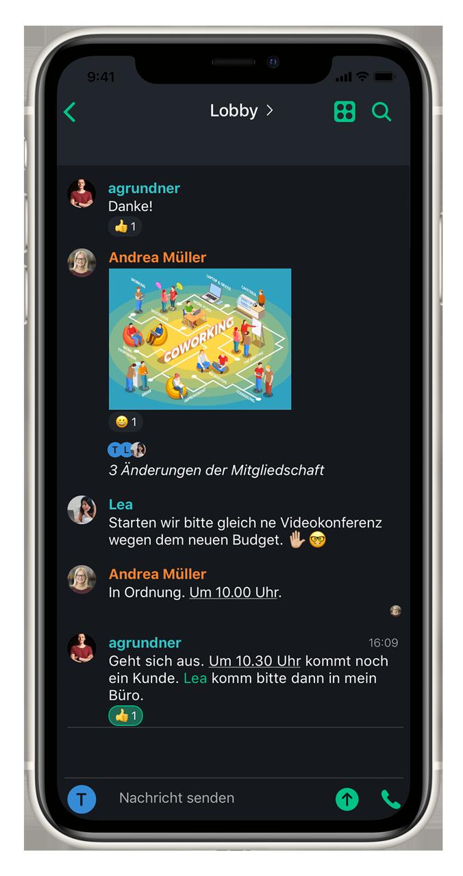 Arbeiten am Smartphone mit Chatcloud App